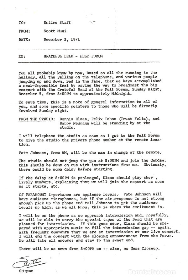 Memo From Scott Muni Regading The Grateful Dead